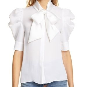 Alice & Olivia maylee silk puffy sleeve bow top